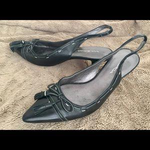 Via Spiga Pointed Toe Slingback Black Heels EUC